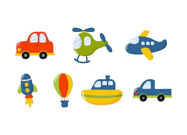漫画輸送おもちゃアイコンを設定。車、ボート、ヘリコプター、ロケット、気球、飛行機の分離 Premiumベクター
