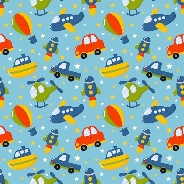 Бесшовные модели мультфильм транспортные игрушки. автомобили, лодка, вертолет, ракета, воздушный шар и самолет Premium векторы