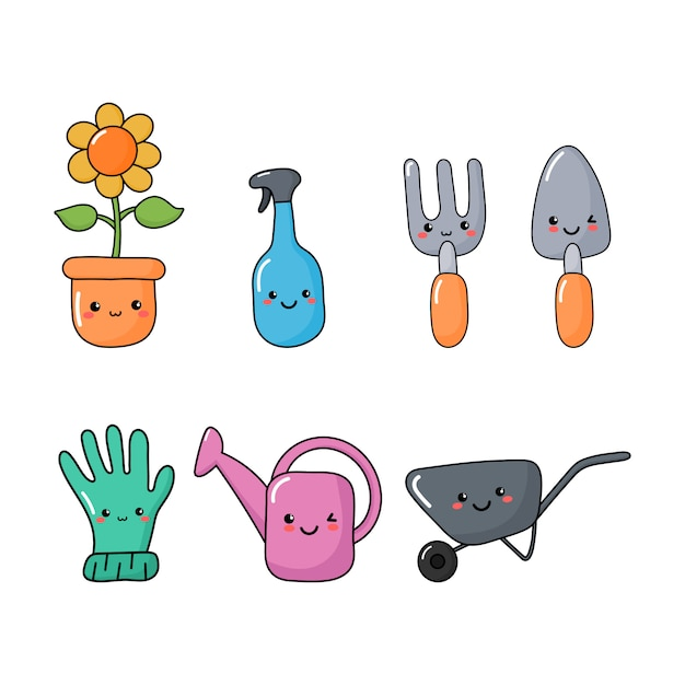 Набор милых забавных символов инструментов сада изолировал символы стиля каваи Premium векторы
