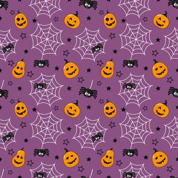 シームレスパターン漫画幸せなハロウィーン。クモ、クモの巣、カボチャが紫に分離されました。 Premiumベクター