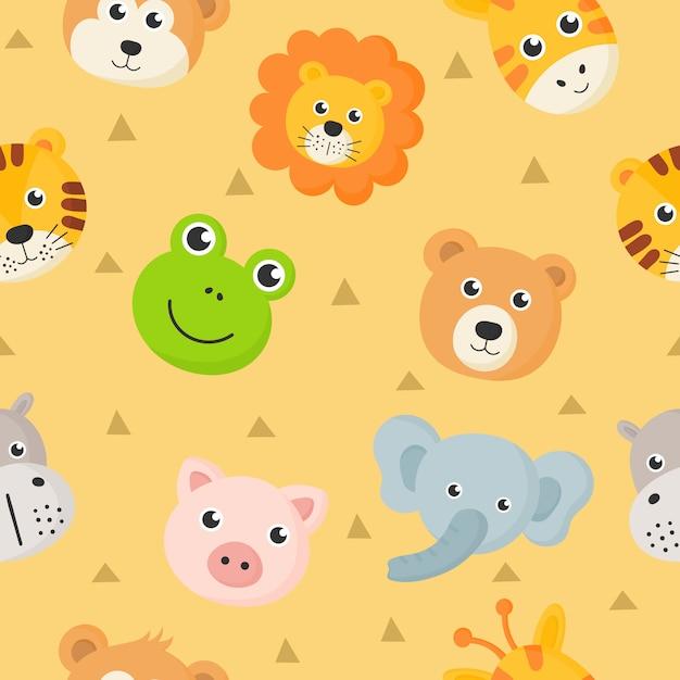 シームレスパターンかわいい動物は、黄色の背景に分離された子供のために設定アイコンに直面しています。 Premiumベクター