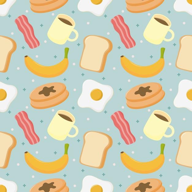 シームレスパターンの朝食。青色の背景に分離された食べ物や飲み物。 Premiumベクター