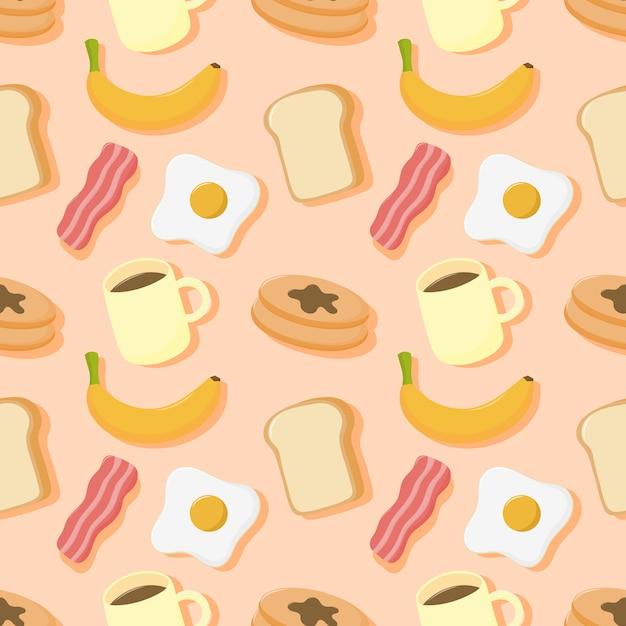 Бесшовные шаблон завтрак. еда и напитки, изолированные на кремовом фоне. Premium векторы