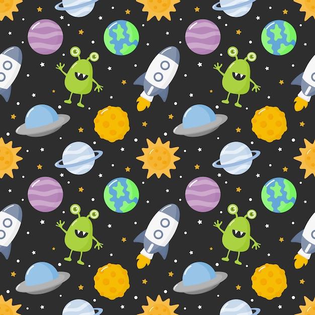 シームレスパターン漫画スペース。黒の背景に分離された惑星 Premiumベクター