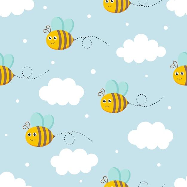 Бесшовные пчел Premium векторы