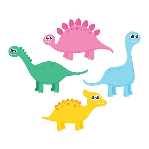 白い背景で隔離の恐竜のコレクション。 Premiumベクター
