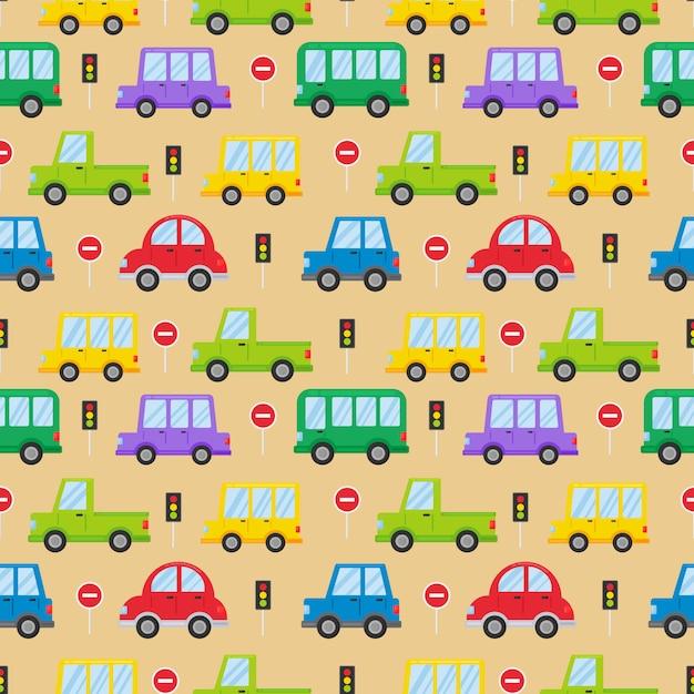 Красочный транспорт бесшовный фон Premium векторы