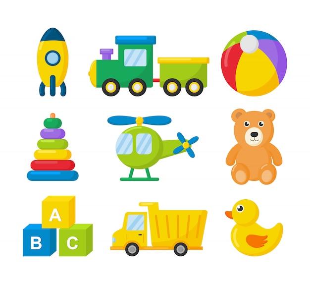 Мультфильм транспорта игрушки значок набор. автомобили, вертолет, ракета, воздушный шар и самолет, изолированные на белом. Premium векторы