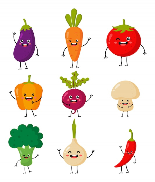 Набор милых забавных мультипликационных овощных символов стиля каваи, изолированных на белом. Premium векторы