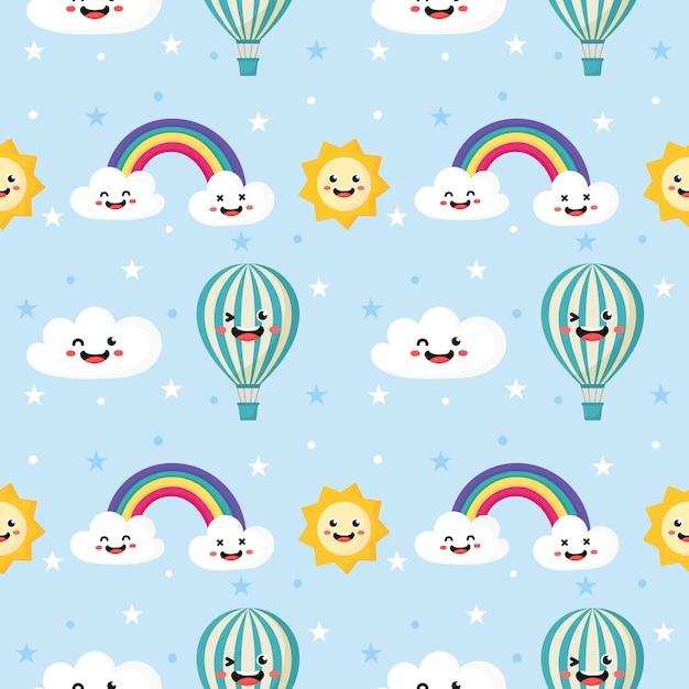 シームレスパターン太陽、バルーン、虹、雲。 Premiumベクター