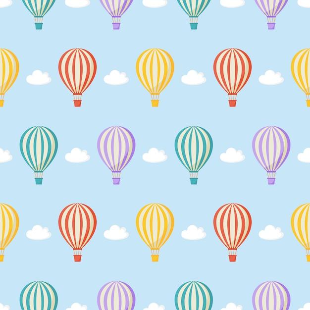 Бесшовные модели шар, облака. каваи обои на синем. Premium векторы