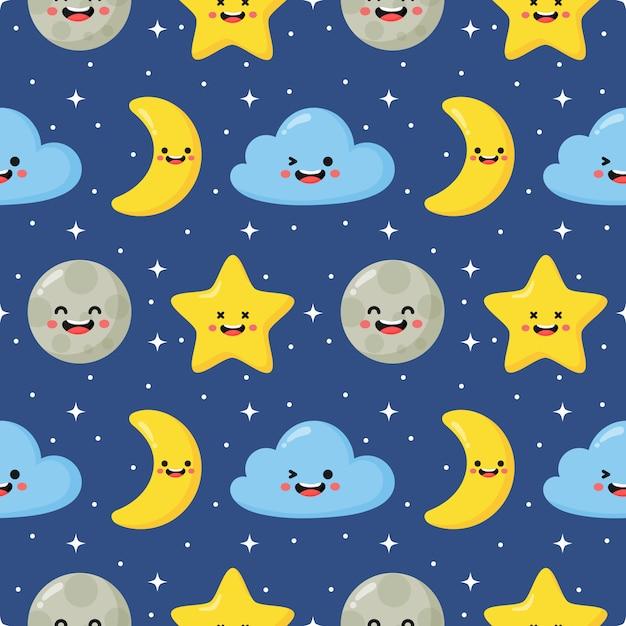 シームレスパターン星、月と雲。青の背景にかわいい壁紙。 Premiumベクター