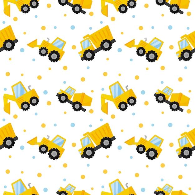 トラクター、掘削機、ブルドーザー、トラックのシームレスパターン Premiumベクター