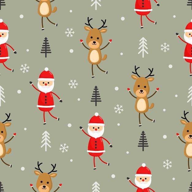 灰色の背景にクリスマス文字シームレスパターン。 Premiumベクター