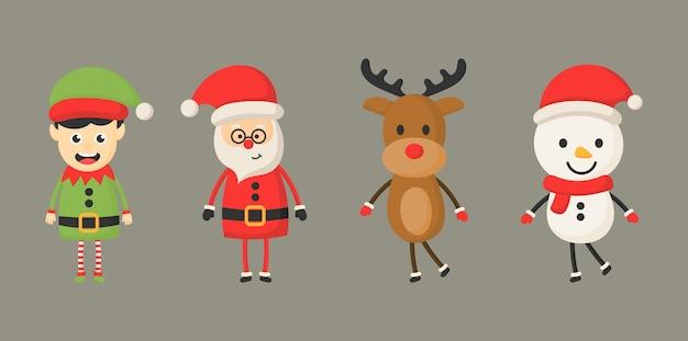 グレーに分離されたクリスマス文字セット。 Premiumベクター