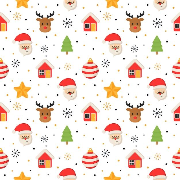 白のクリスマス文字シームレスパターン。 Premiumベクター