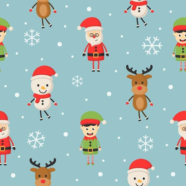 ブルーのクリスマス文字シームレスパターン。 Premiumベクター