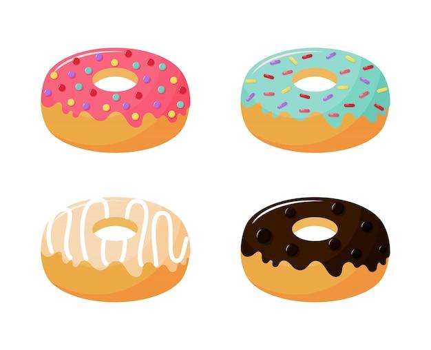 かわいいかわいいパステルドーナツ甘い夏のデザート漫画 Premiumベクター