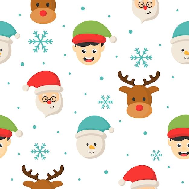 白い背景のクリスマス文字シームレスパターン。 Premiumベクター