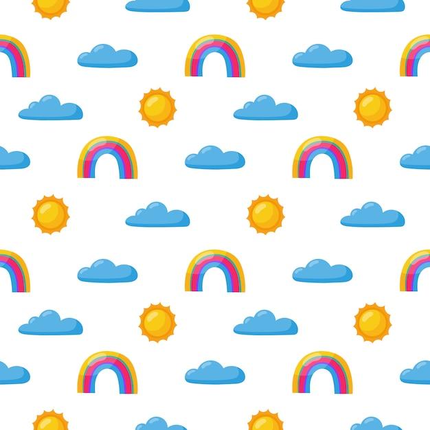 シームレスパターン太陽、虹、雲。白のかわいい壁紙。赤ちゃんのかわいいパステルカラー。変な顔の漫画。 Premiumベクター