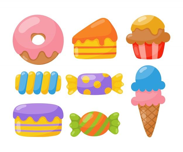 Пекарня с кондитерскими изделиями и конфетами изолированы. Premium векторы