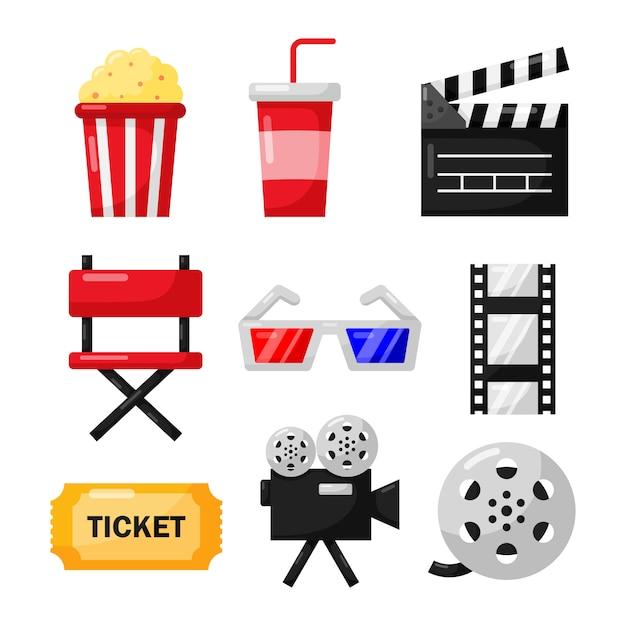 Набор иконок кино знаки и символы коллекции для веб-сайтов изолировать на белом Premium векторы