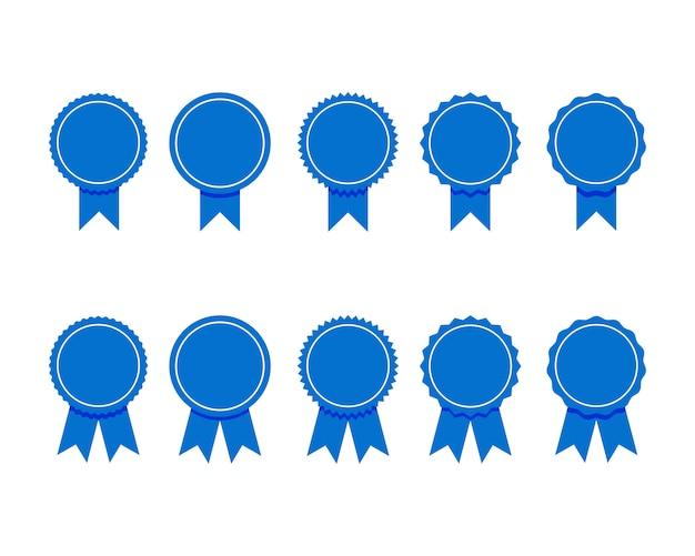 Голубая лента. комплект высококачественных и гарантийных этикеток Premium векторы