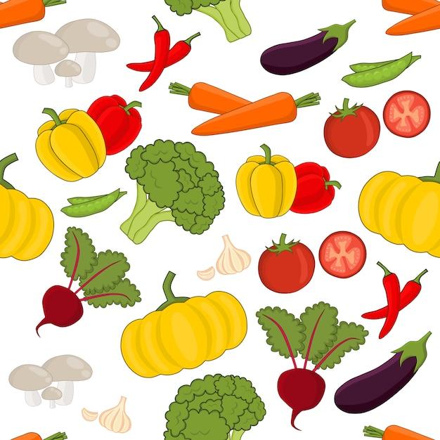 野菜のシームレスなベクトルパターン設定漫画のスタイル Premiumベクター