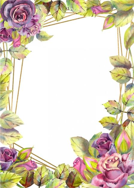バラの花を持つ垂直フレームの背景 Premiumベクター