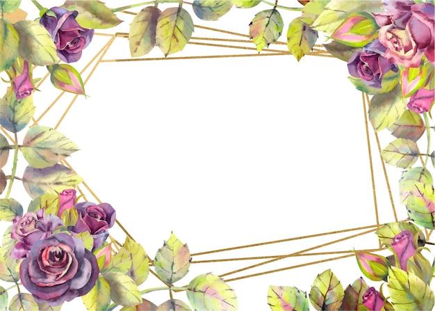 空の長方形の暗いバラ、葉。 Premiumベクター