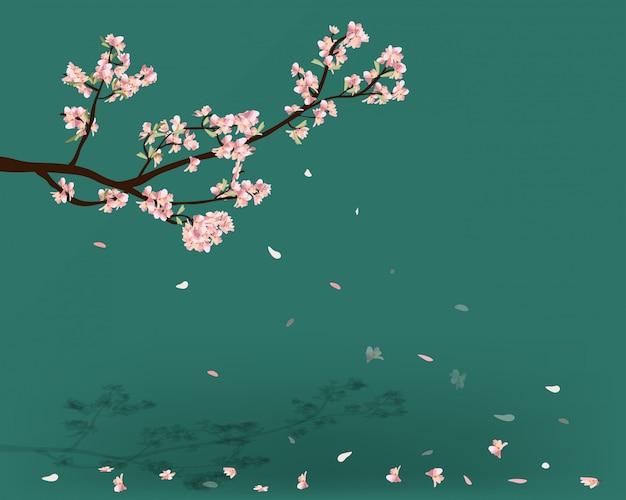 水彩桜フレーム。花の桜の木の枝の背景。 Premiumベクター