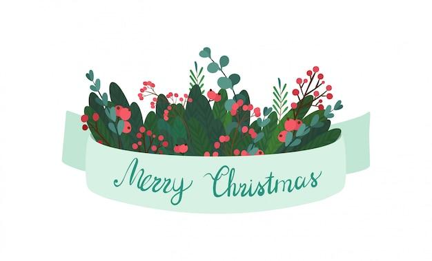 クリスマスの緑の枝、リボンの赤い果実。 Premiumベクター