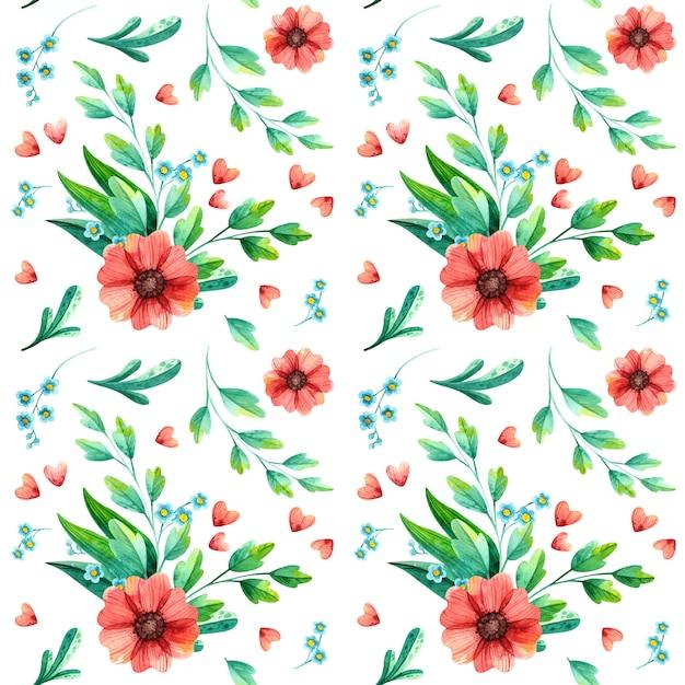 水彩春花のシームレスなパターン。 Premiumベクター