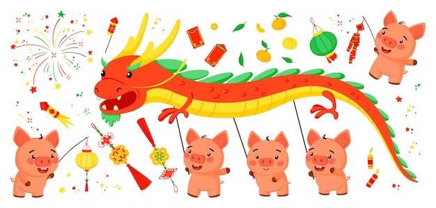 豚の中国の旧正月のための明るい要素のセット Premiumベクター