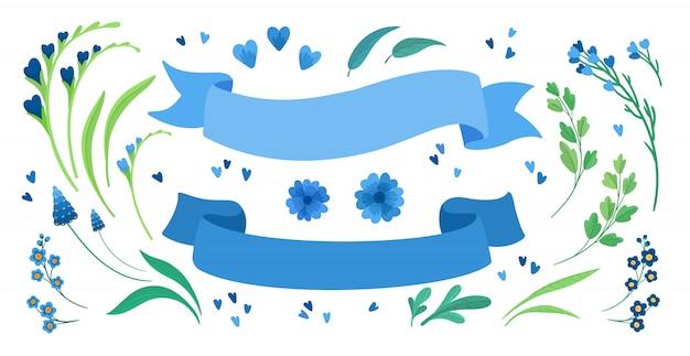 Цветы и пустые ленты плоские иллюстрации набор. цветущие луговые полевые цветы, зеленые листья и сердца приветствие, пригласительный билет элементы дизайна пакета. пустые синие полосы изолированные украшения Бесплатные векторы