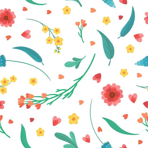 花の装飾的な背景。花は咲き、平らなレトロなシームレスパターンを残します。白い背景の上の抽象的な野生の花。咲く草原の植物。ヴィンテージのテキスタイル、ファブリック、壁紙デザイン 無料ベクター