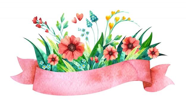 Акварель розовая лента с цветами. цветочные элементы для весеннего свадебного приглашения. Бесплатные векторы