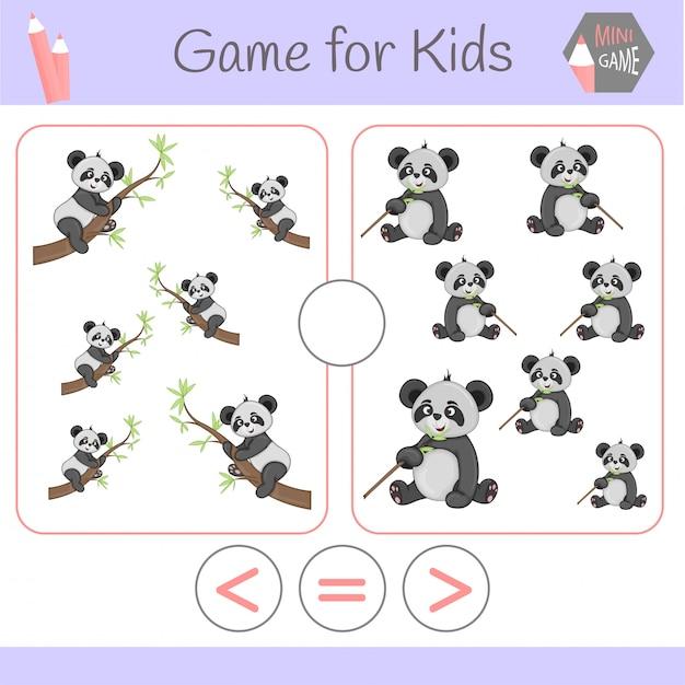 幼児のためのロジック教育ゲーム。漫画面白いロボット。正しい答えを選びなさい。より大きい、小さい、または等しい Premiumベクター