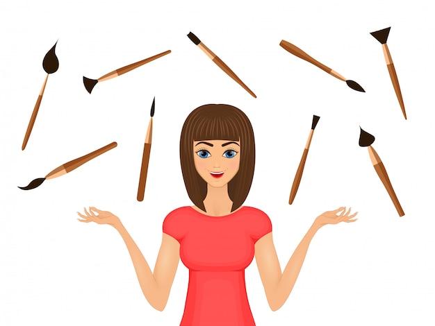 Красота иллюстрация модельная девушка с набором косметических кисточек Premium векторы