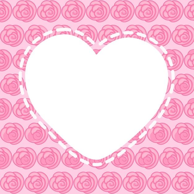 美しいピンク色の花、ベクターグラフィックとハートの空白フレーム Premiumベクター