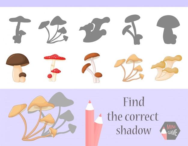 Найти правильную тень, обучающая игра для детей. милый мультфильм животных и природы. векторная иллюстрация Premium векторы