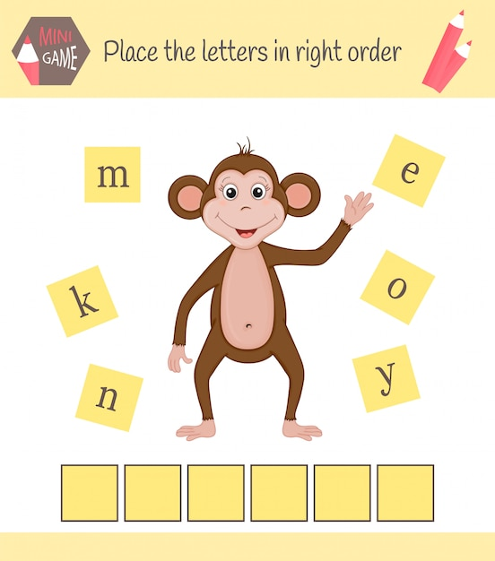 就学前の子供のためのワークシート言葉は子供のための教育的なゲームをパズル。文字を正しい順序で並べる Premiumベクター