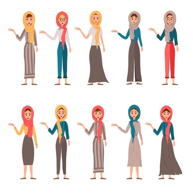 女性キャラクターのセットです。女の子は横に右手を指します。 Premiumベクター