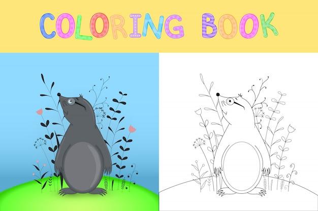 Детская книжка-раскраска с мультипликационными животными. Premium векторы