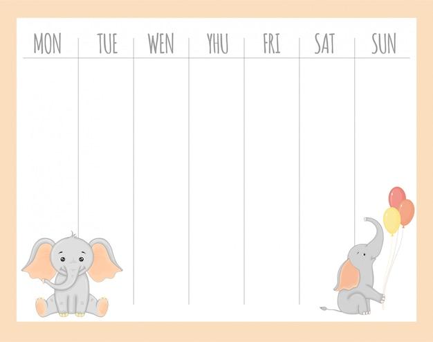 象、ベクターグラフィックスと幼稚なウィークリープランナー Premiumベクター