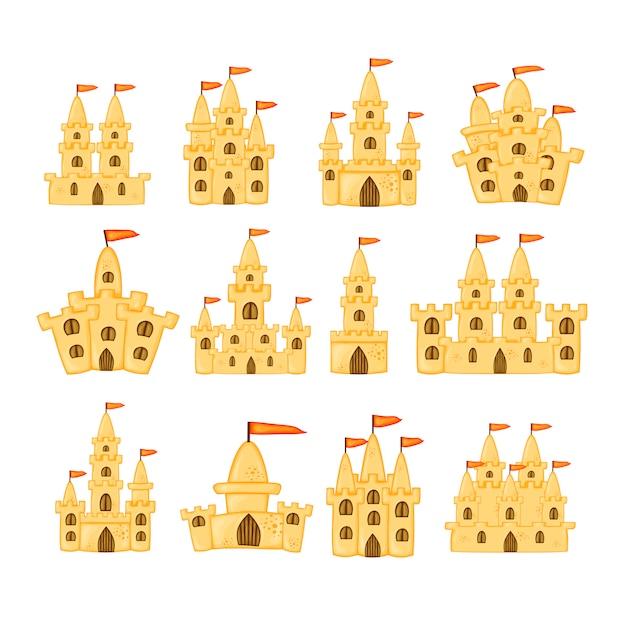 Набор песчаных замков различной формы. Premium векторы