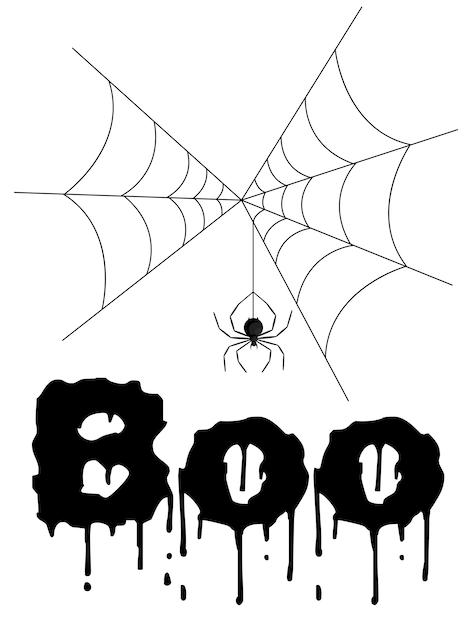 クモとハロウィーンのグリーティングカード。漫画のスタイル。ベクトルイラスト。 Premiumベクター