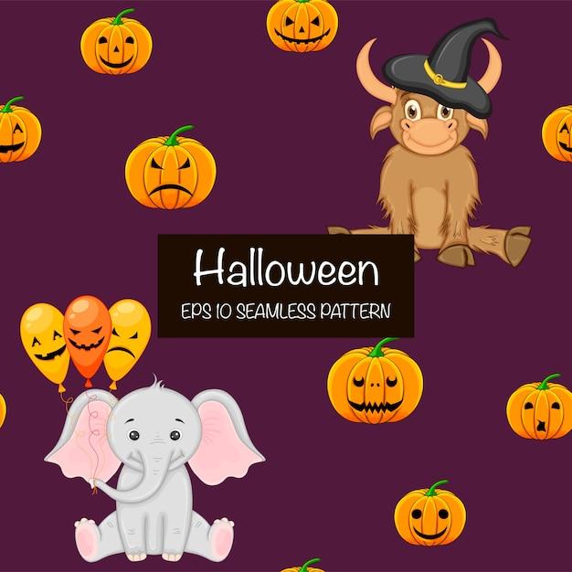 Хэллоуин бесшовные модели с милыми животными. мультяшный стиль Premium векторы