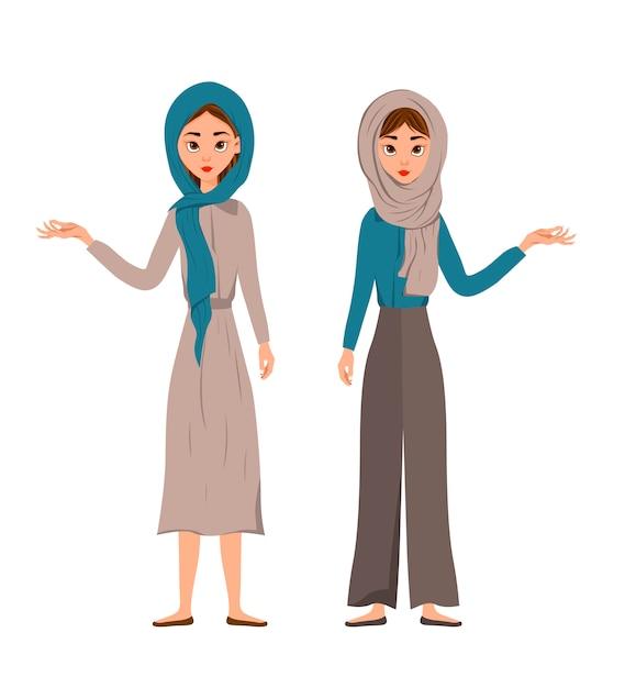 Набор женских персонажей. девушки указывают на правую руку в сторону Premium векторы