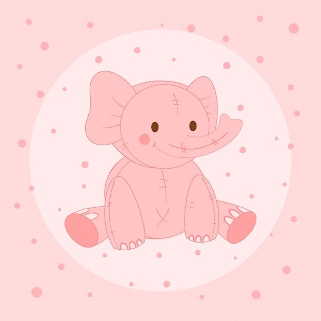 かわいいピンクの象、子供用はがき Premiumベクター